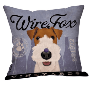 Pet Stop Store 43X43cm Two-Toned Blue Wire Fox Terrier Cushion Cover