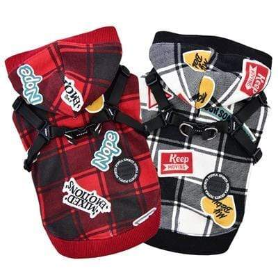 Playful Red & Black Hooded Dog Harnesses for Dogs All Sizes