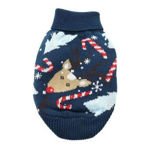 Pet Stop Store 100% Cotton Blue Reindeer Holiday Ugly Dog Sweater