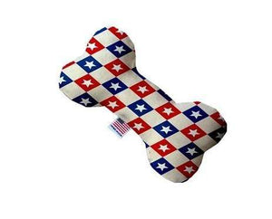Pet Stop Store 6 inch Patriotic Checkered Stars Bone Dog Toy