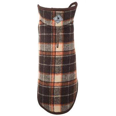 Trendy Brown Plaid Adjustable Alpine Dog Jacket with Harness Hole