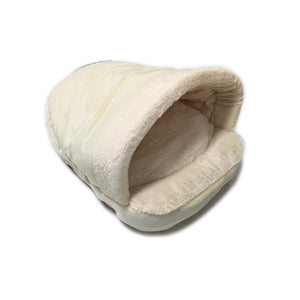 Pet Stop Store Beige Cozy Sleeping Bag Cat & Dog Bed in Gray, Brown & Beige