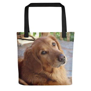 Pet Stop Store Black Porch Golden Retriever Tote Bag