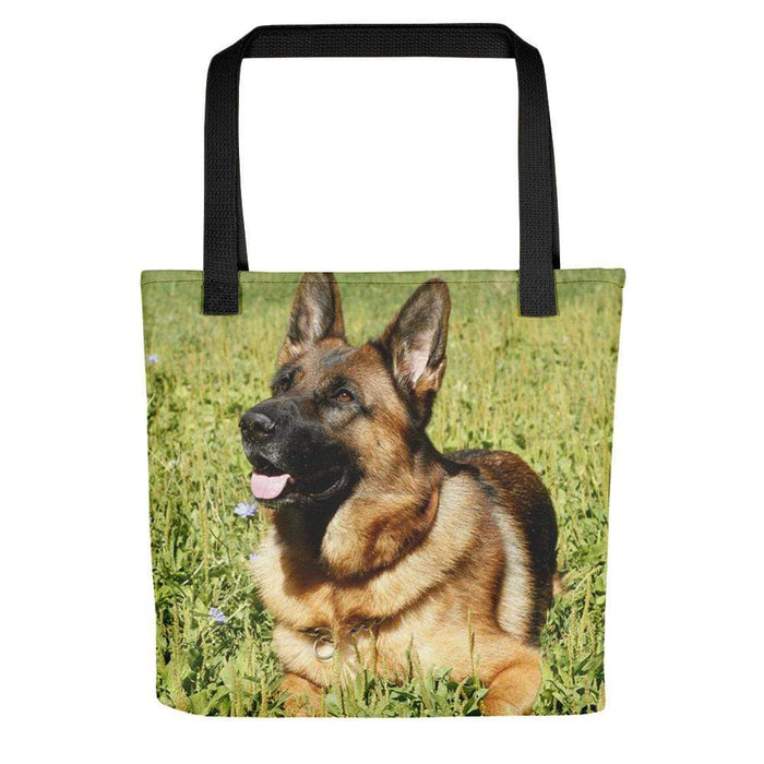 Grassy German Shepherd Tote Bag