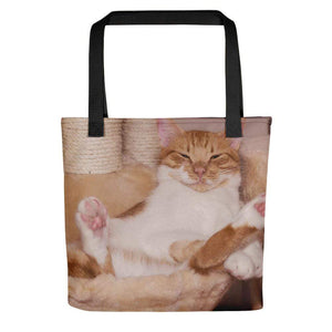 Pet Stop Store Black Lazy Fat Cat Tote Bag