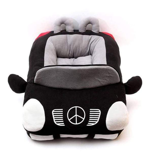 Plush Mercedes Benz Dog Bed Black & Red
