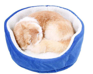 Pet Stop Store blue Cozy Round Snuggy Cat & Dog Bed Avail in Gray, Blue & Brown