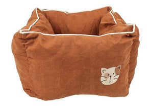 Pet Stop Store Brown Comfy Cozy Square Suede & Cotton Cat Bed Avail in 5 Colors