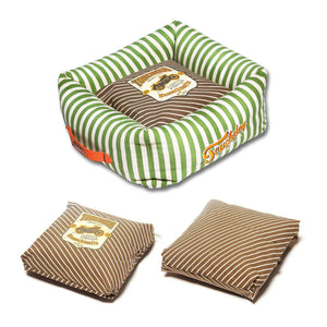 Pet Stop Store Brown Neutral-Striped Ultra-Plush Designer Dog Bed
