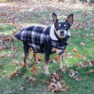Pet Stop Store Trendy Pink & Black Plaid Adjustable Alpine Dog Jacket with Harness Hole