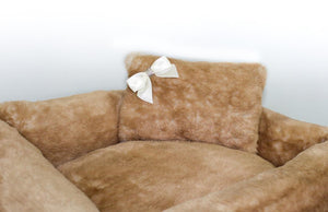 Pet Stop Store Brown Teddy Bear Dog Bed with Pillow & Satin Bow