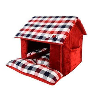 Pet Stop Store Checkered Red & Olive Green Beaufort Dog House Bed