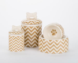 Pet Stop Store Chevron Dog Bowls and Treat Jars Collection