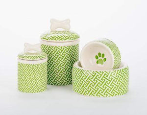 Pet Stop Store Green Trellis Dog Bowls & Treat Jars Collection