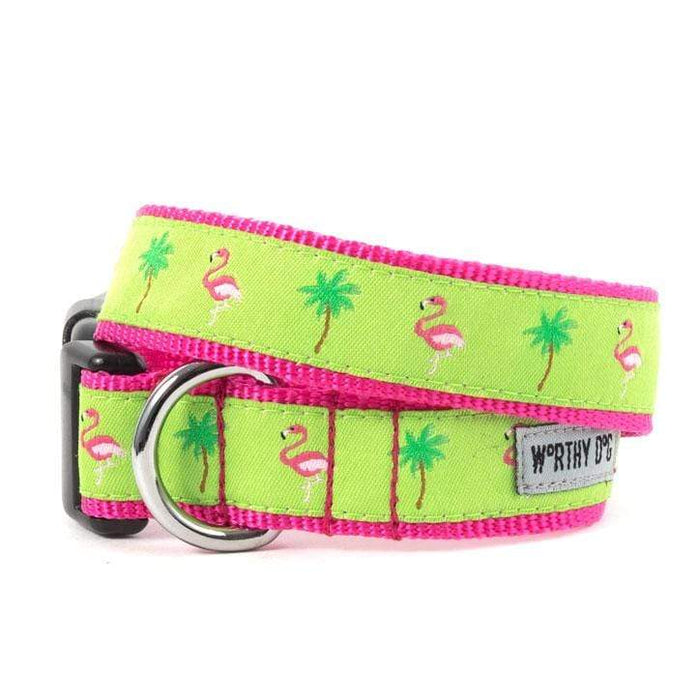 Fun & Playful Flamingos Dog Collar & Leash