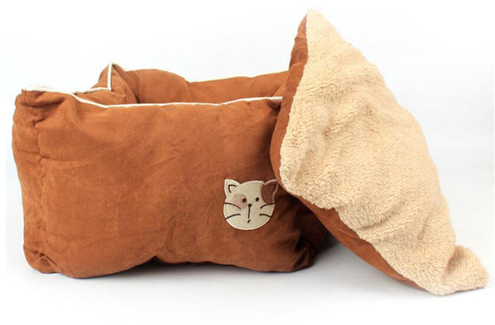 Comfy Cozy Square Suede & Cotton Cat Bed Avail in 5 Colors