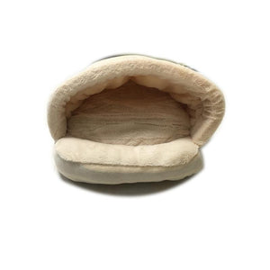 Pet Stop Store Cozy Sleeping Bag Cat & Dog Bed in Gray, Brown & Beige