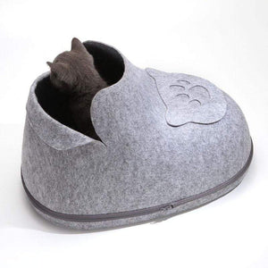 Pet Stop Store Cute & Cozy Cat Boot Bed in Pink, Gray, Brown & Blue