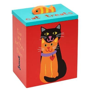Pet Stop Store Cute & Colorful Hand Painted Collection Two is Better Cat Treat Box