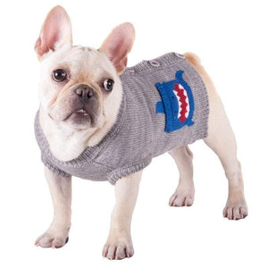 Pet Stop Store Cute & Playful Gray Shark Cardigan Dog Sweater
