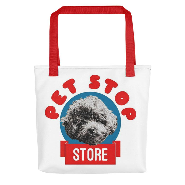 Cute Red, Blue & White Shoulder Tote Bag for Poodle Lovers