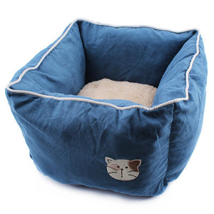 Pet Stop Store Dark Blue Comfy Cozy Square Suede & Cotton Cat Bed Avail in 5 Colors