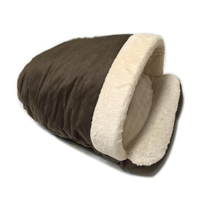 Pet Stop Store Dark Brown Cozy Sleeping Bag Cat & Dog Bed in Gray, Brown & Beige