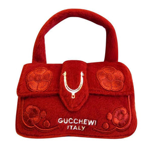 Pet Stop Store Designer Inspired Plush Gucchewi Red Handbag Pet Toy