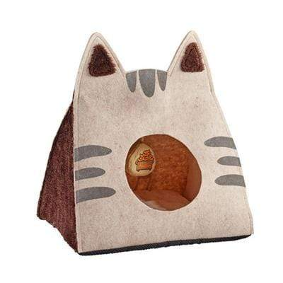 Easy to Wash Foldable Tan Cat Cave Bed