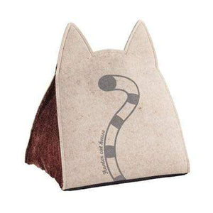 Pet Stop Store Easy to Wash Foldable Tan Cat Cave Bed