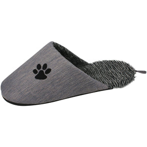 Pet Stop Store Eco-friendly Faux-Fur Gray & Black Slipper Dog Bed