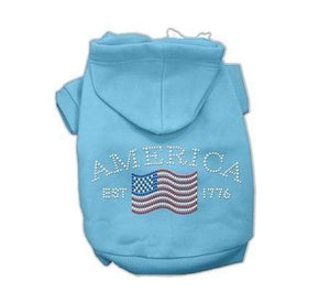 Pet Stop Store Extra Small / Baby Blue Classic American Rhinestone Hoodie Baby Blue