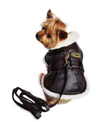 Stylish Brown Vintage Bomber Dog Coat & Leash