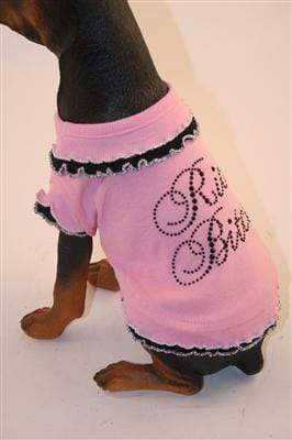 Pet Stop Store Fun Sassy Pink & Black Rich Bitch Dress for Dogs