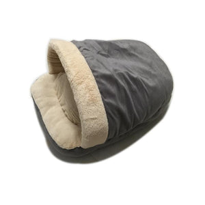 Pet Stop Store Gray Cozy Sleeping Bag Cat & Dog Bed in Gray, Brown & Beige