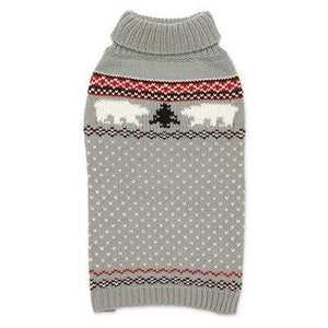Pet Stop Store Gray Hand Knit Polar Bear Dog Sweater