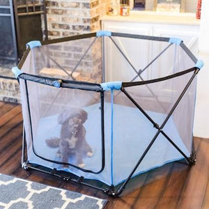 Pet Stop Store Portable & Collapsible Blue Dog & Cat Playpen