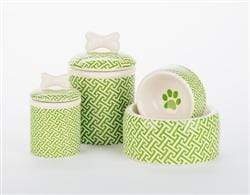Pet Stop Store Green Trellis Dog Bowls & Treat Jars Collection Kitchen Accessories