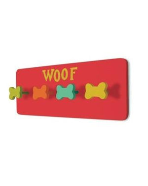 Pet Stop Store Hand Painted  Red Woof Dog Leash Holder
