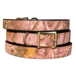 Pet Stop Store Camouflage Leather Dog Collars in Pink & Gray