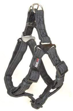 "Pet Stop Store Length: 11""-15"" Width: 5/8""	 black Modern Denim Durable and Padded Step-In Dog Harness & Leash"