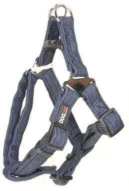 "Pet Stop Store Length: 11""-15"" Width: 5/8""blue Modern Denim Durable and Padded Step-In Dog Harness & Leash"