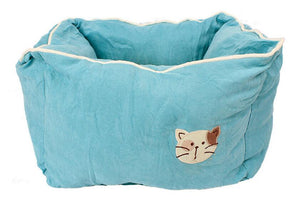 Pet Stop Store Light Blue Comfy Cozy Square Suede & Cotton Cat Bed Avail in 5 Colors