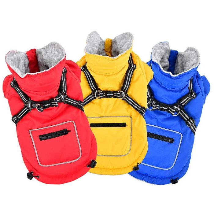 Mallory Dog Vest w/Integrated Harness in Colors Red, Blue & Yellow