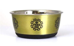 Pet Stop Store Medium 28oz	Gold Modern Metal Dog & Cat Bowls (Gold, Silver or Copper)