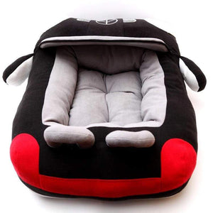 Pet Stop Store Plush Mercedes Benz Dog Bed Black & Red