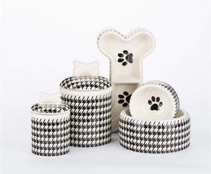 Pet Stop Store Modern Stylish Black & White Bowls & Treat Jars