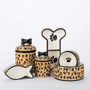 Pet Stop Store Stylish Leopard Print Bowls & Treat Jars