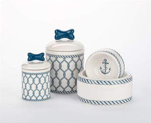 Pet Stop Store Nautical Dog Bowls and Treat Jars Kitchen Accessories
