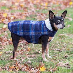 Pet Stop Store Trendy Navy Blue & Red Plaid Adjustable Alpine Dog Jacket with Harness Hole